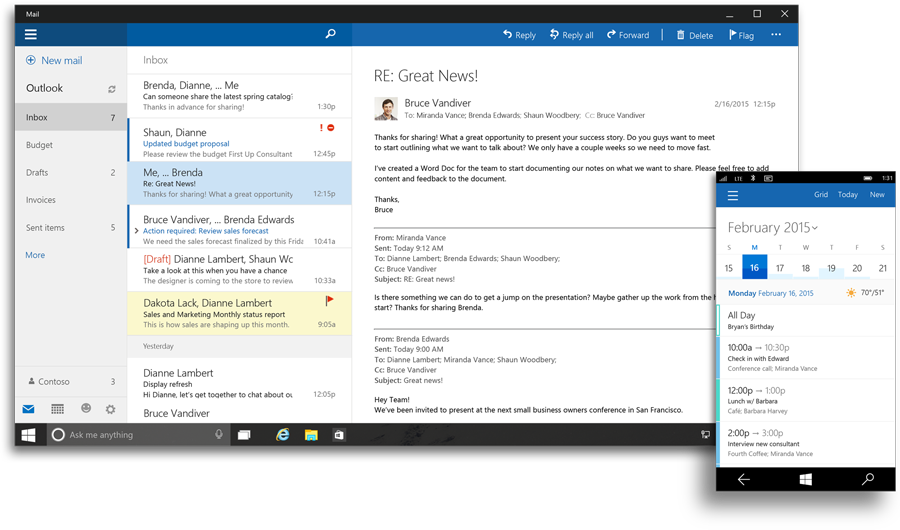 Microsoft Outlook 2016 User Interface