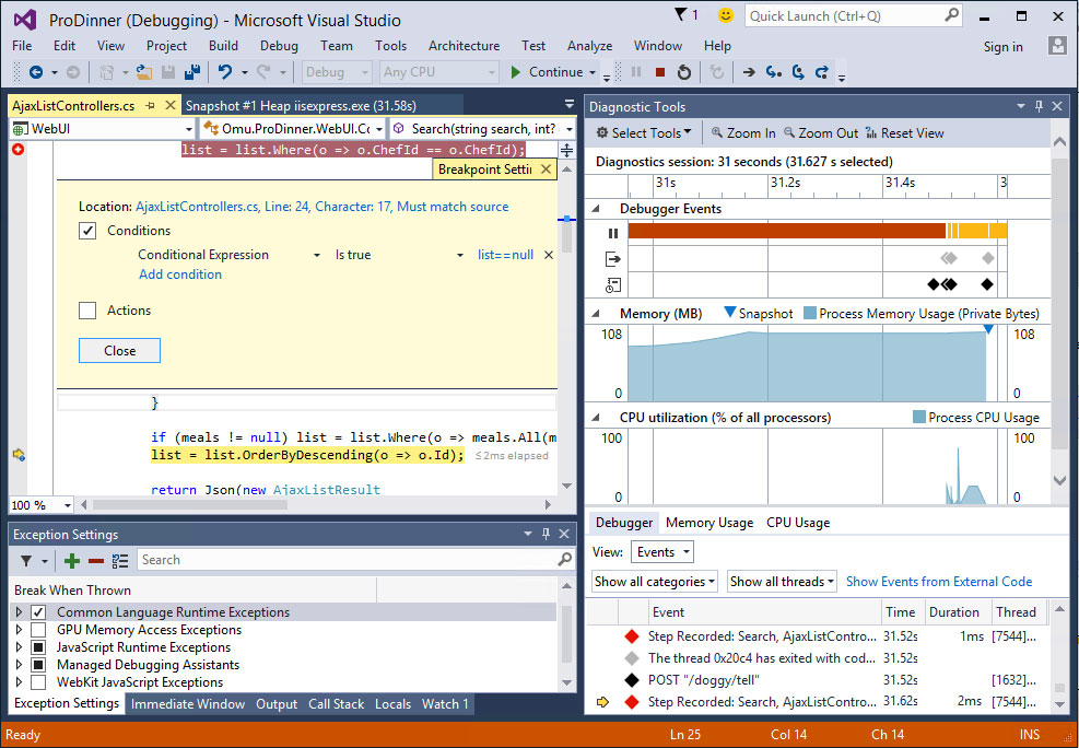 Visual Studio 2015 screenshot